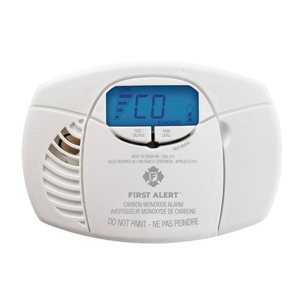 Battery-Operated Carbon Monoxide Alarm with Backlit Digital Display Front View