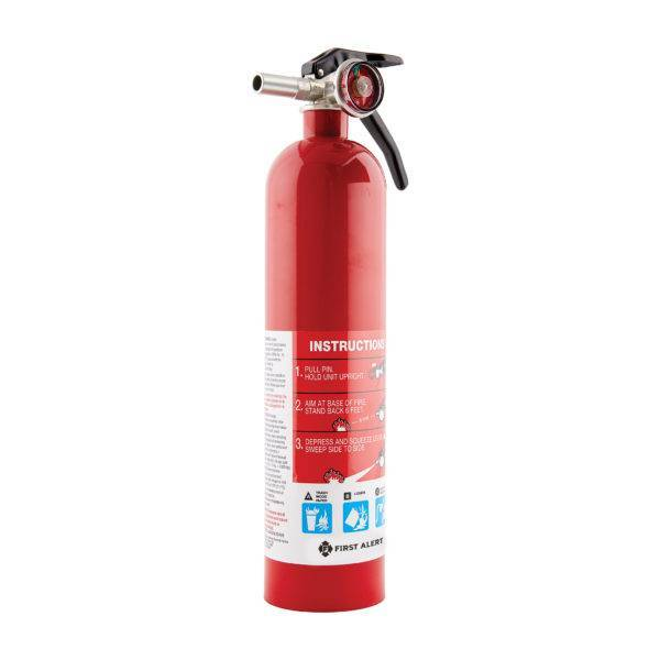 Rechargeable Home Fire Extinguisher, color metal red, with pressure indicator. Instructions: 1. Pull pin. Hold unit upright. 2. Aim at base of fire. Stand back six feet. 3. Depress and squeeze level sweep side to side.