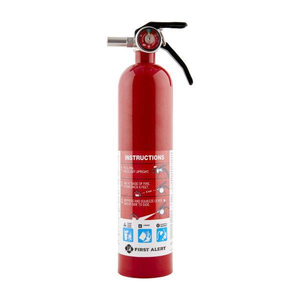 Rechargeable Home Fire Extinguisher, color metal red, with pressure indicator, suitable for trash, wood, paper, liquids or electrical equipment.
