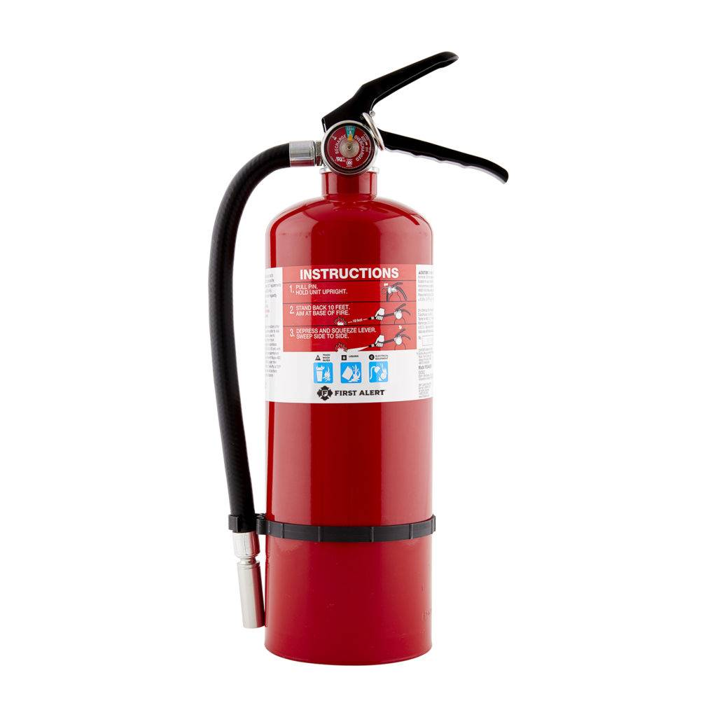 Rechargeable Heavy Duty Plus Fire Extinguisher, red metallic color, pressure indicator, hose for jet control, suitable for trash, wood, paper, liquids and eletrical equipment.