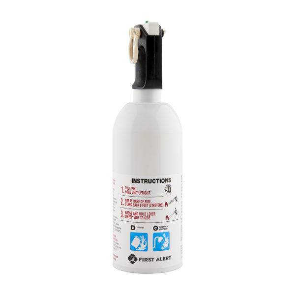 Kitchen Fire Extinguisher UL Rated 5-B:C (White) Use Instructions View