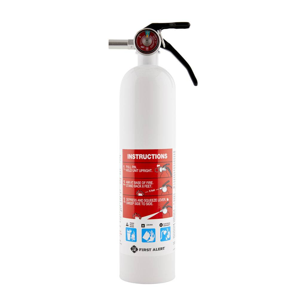 Rechargeable Marine Fire Extinguisher, color metal white, with pressure indicator, suitable for trash, wood, paper, liquids or electrical equipment.