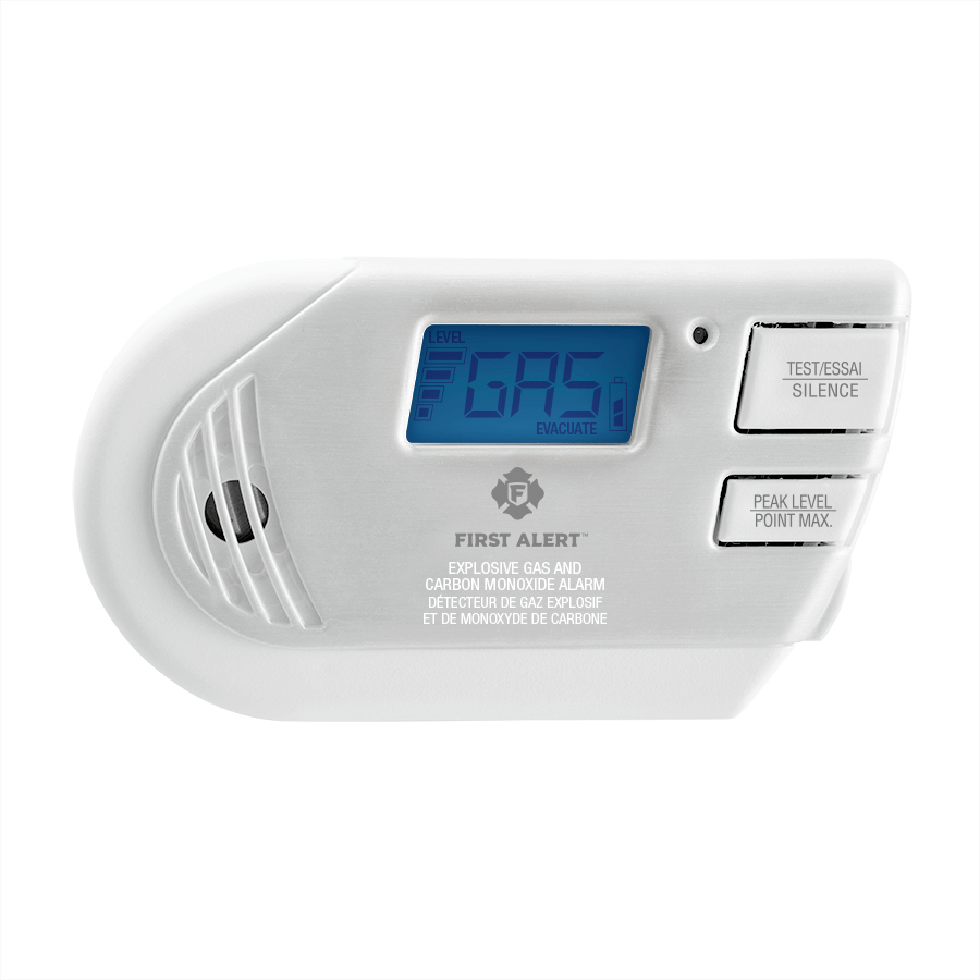 Combination Explosive Gas and Carbon Monoxide Alarm with Backlit Digital Display Front View