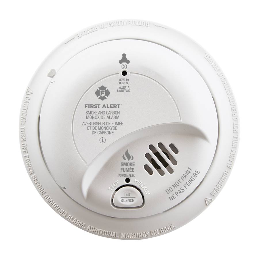 Hardwired Smoke and Carbon Monoxide Alarm with Battery Backup Front View